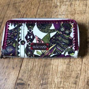 Sakroots double zip owl wallet